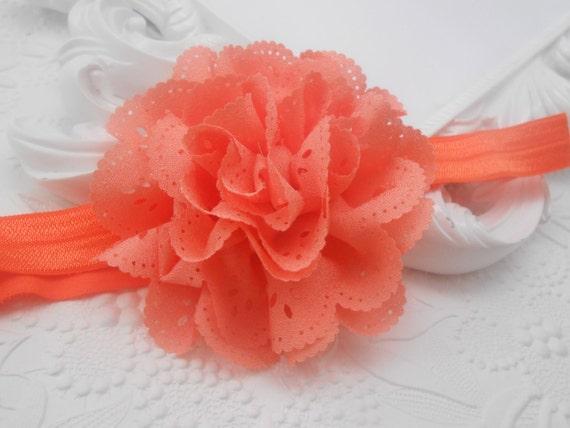 Coral Eyelet Chiffon Lace Flower Baby Headband, Newborn Headband,  Infant Headband,Baby Headband, Headband Baby, Baby Headband