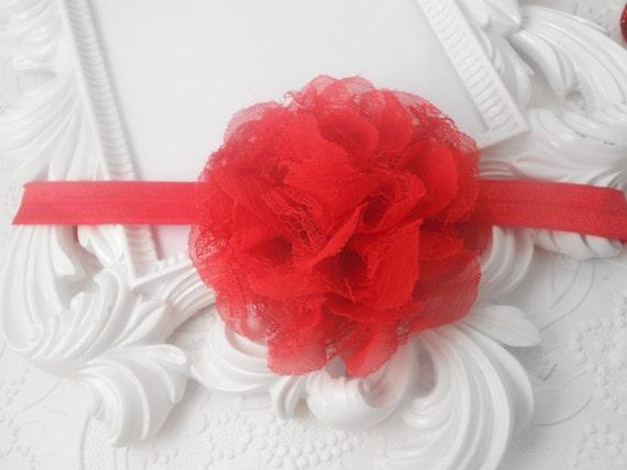 Red  Frayed Lace,Chiffon flower Baby Headband, Newborn Headband,  Infant Headband,Baby Headband, Headband Baby, Baby Headband
