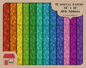 Digital Small Sequin Texture Paper Background Printable Graphic Illustration Multi Colored-12x12 inches-Commercial Use OK - Instant Download