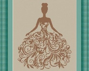 WOMAN  / robe femme -Counted cross stitch pattern /grille point de croix ,Cross Stitch PDF, Instant download , free shipping