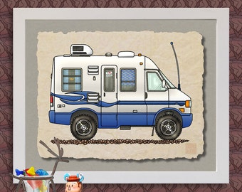 Rialta Camper RV art print Cute whimsical travel trailer and happy camper prints add fun to RV, trailer or cabin as 8x10 & 13x19 wall decor