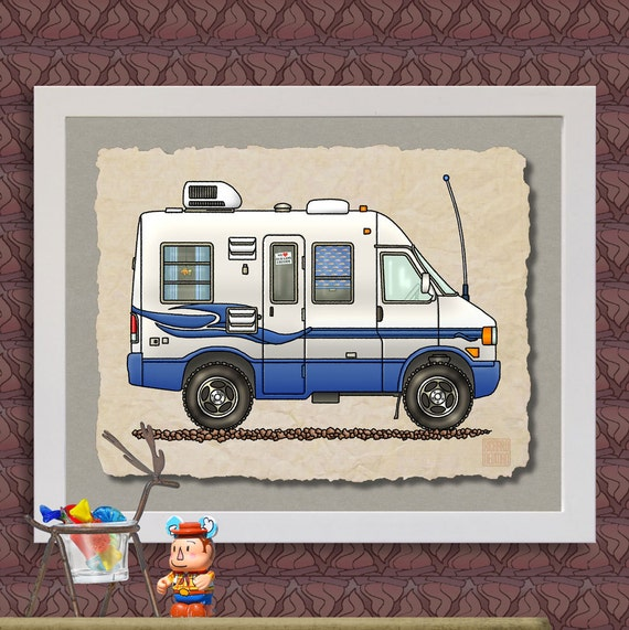 Volkswagen Rialta Reviews: Rialta Camper RV Art Print Cute Whimsical Travel Trailer And