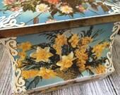 SALE Vintage Floral Tin, Vintage Tin by Edward Sharp & Sons, Vintage Floral Box