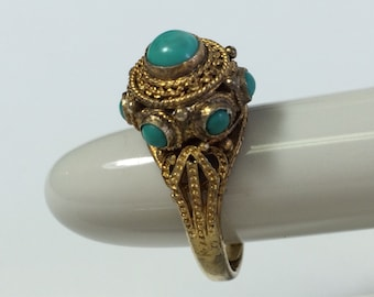 Vintage Chinese Wirework Ring with Turqoise