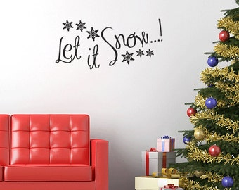 Wall Window Decal Let it Snow Christmas Decoration Quote Xmas Festive Sticker Decorative