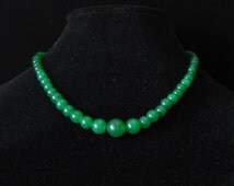 Moss Green Jade Gemstone Necklace Graduated Beads 18 Inch