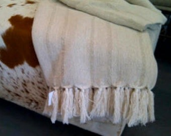Cotton throw with fringing (handmade in South Africa)