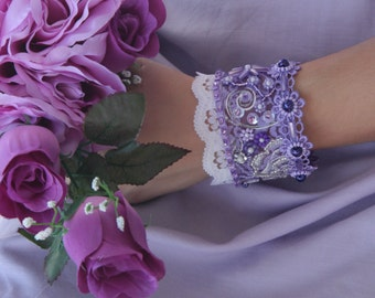 Romantic purple lace bracelet, purple lace flowers, Lace jewelry