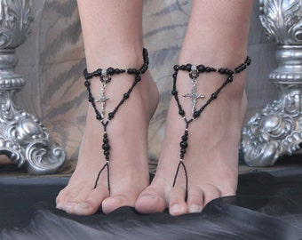 Beaded barefoot sandals in gothic style, Black beaded anklets, Barefoot jewelry, Foot jewelry, Gothic jewelry