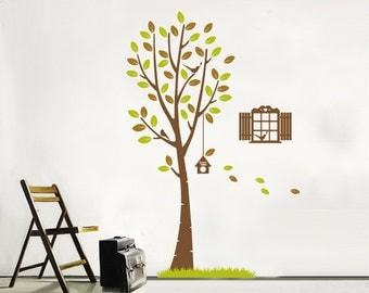 Tree Wall Decal Vinyl Wall Decal,Birdcage wall decal stickers, Flying leaves wall sticker,Nursery Tree Wall Decal With Brids Decals Decor