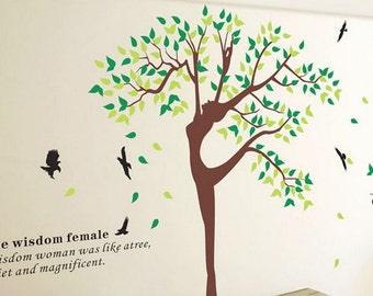 Tree wall decal with birds, nursery wall decal, Nature design tree sticker, Dancing tree wall decals, Flying birds wall decal-7112