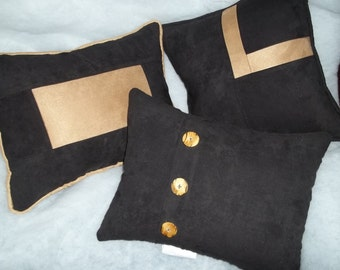 Set of 3 14' New Microsuede Black and Tan Pillows