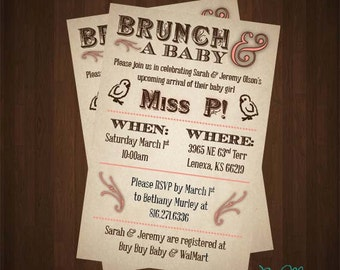 Vintage Farmstead Brunch Baby Shower Invitation