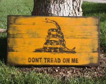 Don't Tread On Me sign, Gadsden Flag, hand painted rattlesnake wood flag, rustic wall art