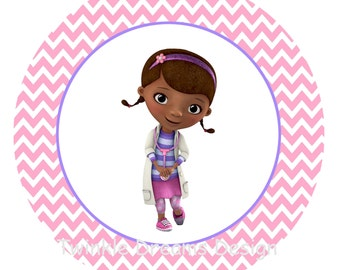 Instant Download Doc McStuffins Pink Chevron Digital Image T shirt Printable Iron On Transfer