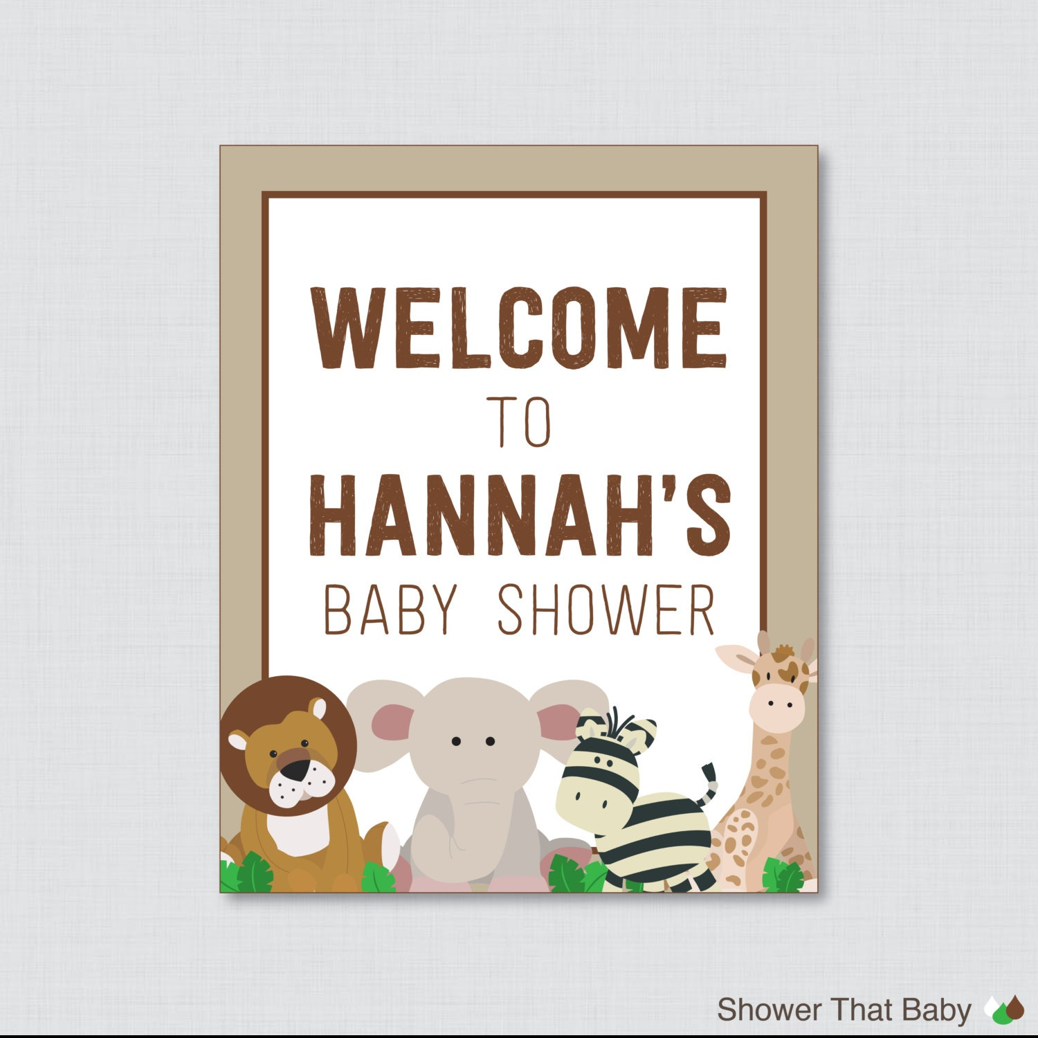 safari baby shower welcome sign personalized by showerthatbaby