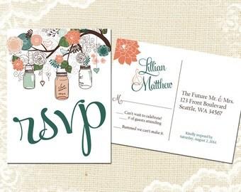 RSVP Postcard - Mason Jar rsvp Card - Mason Jar Reply Card - Mason Jar Wedding - Woodland Mason Jar Barn Wedding rsvp  -3006 PRINTABLE