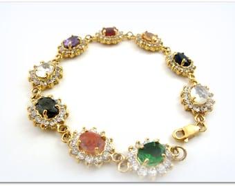 Gold bracelet -Gold Fill14K bracelet ,vintage style bracelet ,multistone bracelet, gold jewelry