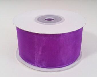 Sheer Organza Ribbon - Purple - 25 Yards