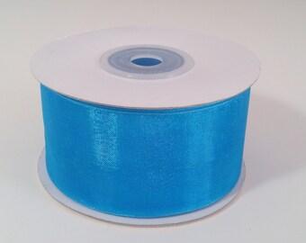 Sheer Organza Ribbon - Turquoise - 25 Yards