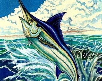 Original acrylic fine art painting of Blue Marlin