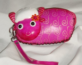 Leather Change/coin purse,a sweet sheep shape, zipper closure, hot pink and snow white