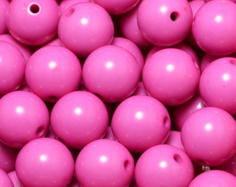 10pcs Hot Pink Bubblegum Beads, 20mm Round Acrylic Chunky Gumball Beads for Bubblegum Necklace Jewelry #SD-B2606