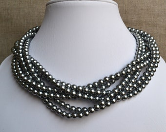 gray pearl necklace,6 strands pearl necklaces,,gray glass pearls necklaces, pearl necklace,bridesmaids necklace,wedding  pearl necklace