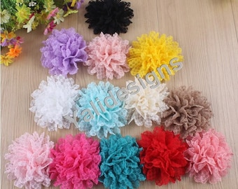 10pcs Wholesale 3.9'' inch Lace Flower Brooch/Flower Headdress Fabric Flower For Pin and Headband YTA06
