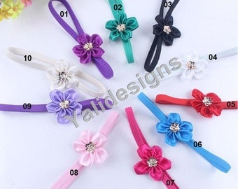 Wholesales 10pcs Satin Ribbon Flower Headband Baby Headbands. Newborns Headbands. Girl's Headband YTH04