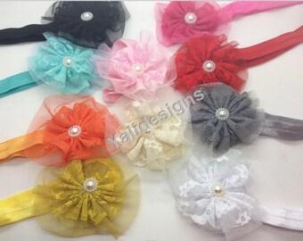 U Pick Wholesales Lace Flowers Headband Baby Headbands. Pearl Newborns Headbands. Girl's Headband YTH39
