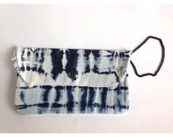 Denim Clutch/ Denim Tie Dye Clutch/ Tie Dye Clutch/ Tie Dye Bag/ Beach Clutch/ Beach Bag/ Boho Clutch/ Clutch/ Tie Dye Bag/ Boho Bag/ Bag