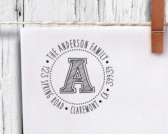 Custom Round Address Stamp, Self Inking Stamp, Monogram Stamp, Return Address Stamp, Personalized Stamp (r29)