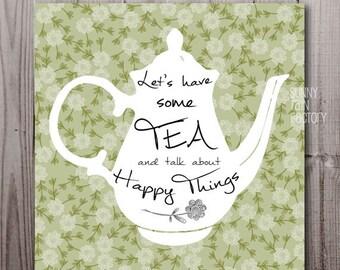 tea quotes digital, tea printable, tea poster download, green kitchen wall art, tea quote poster, kitchen quotes digital download tea floral