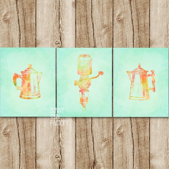 Kitchen Wall Decor Orange : Mint and orange kitchen wall art set coffee by