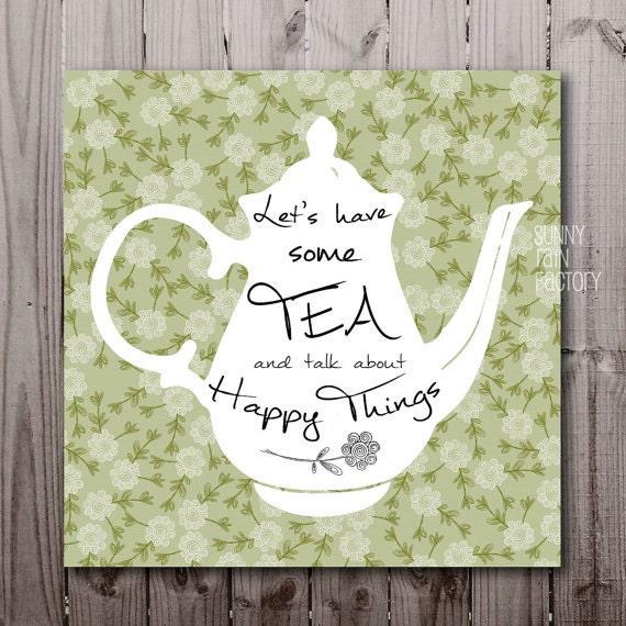 Kitchen Tea Quotes For Cards: Tea Quotes Digital Tea Printable Tea Poster Download Green