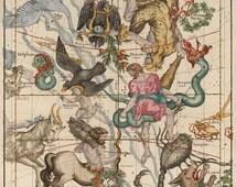 Celestial Map,Constellation map 17th century, Hercules, Sagittarius. Heavens map, Zodiac print, Antique celestial map, Astrology print.