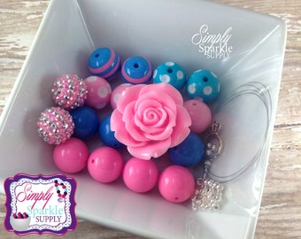 Chunky Necklace DIY kit Pink and Blue Cotton Candy Flower bead Make it yourself kit