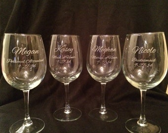 SET OF FOUR Personalized Wine Glasses