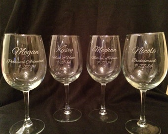 SET OF TEN Personalized Wine Glasses