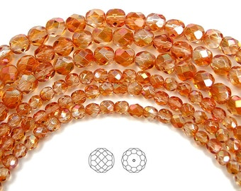 4mm (102pcs) Crystal Apricot Medium coated, Czech Fire Polished Round Faceted Glass Beads, 16 inch strand