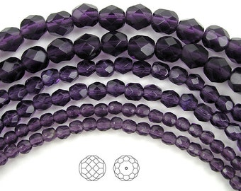 6mm (68pcs) Tanzanite, Czech Fire Polished Round Faceted Glass Beads, 16 inch strand