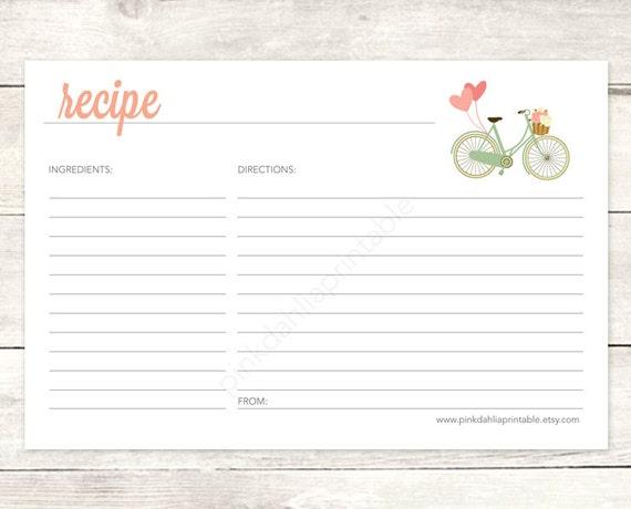 Pink Recipe Cards For Bridal Shower Recipe Card Bridal Shower