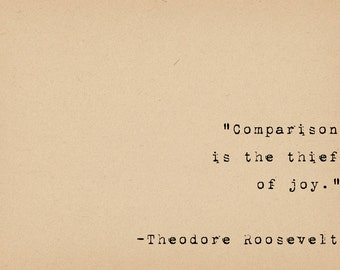 Inspirational Art Quote Print - Typewriter Quote Print - Theodore Roosevelt Quote - Happiness Joy Quote Art