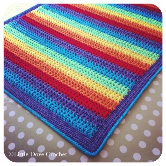 Kiss Stitch Rainbow Crochet Baby Blanket PDF by LittleDoveCrochet