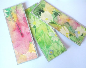 Original Hand-painted 3 Bookmarks,OOAK bookmarks, Original watercolor paintings by Dhana