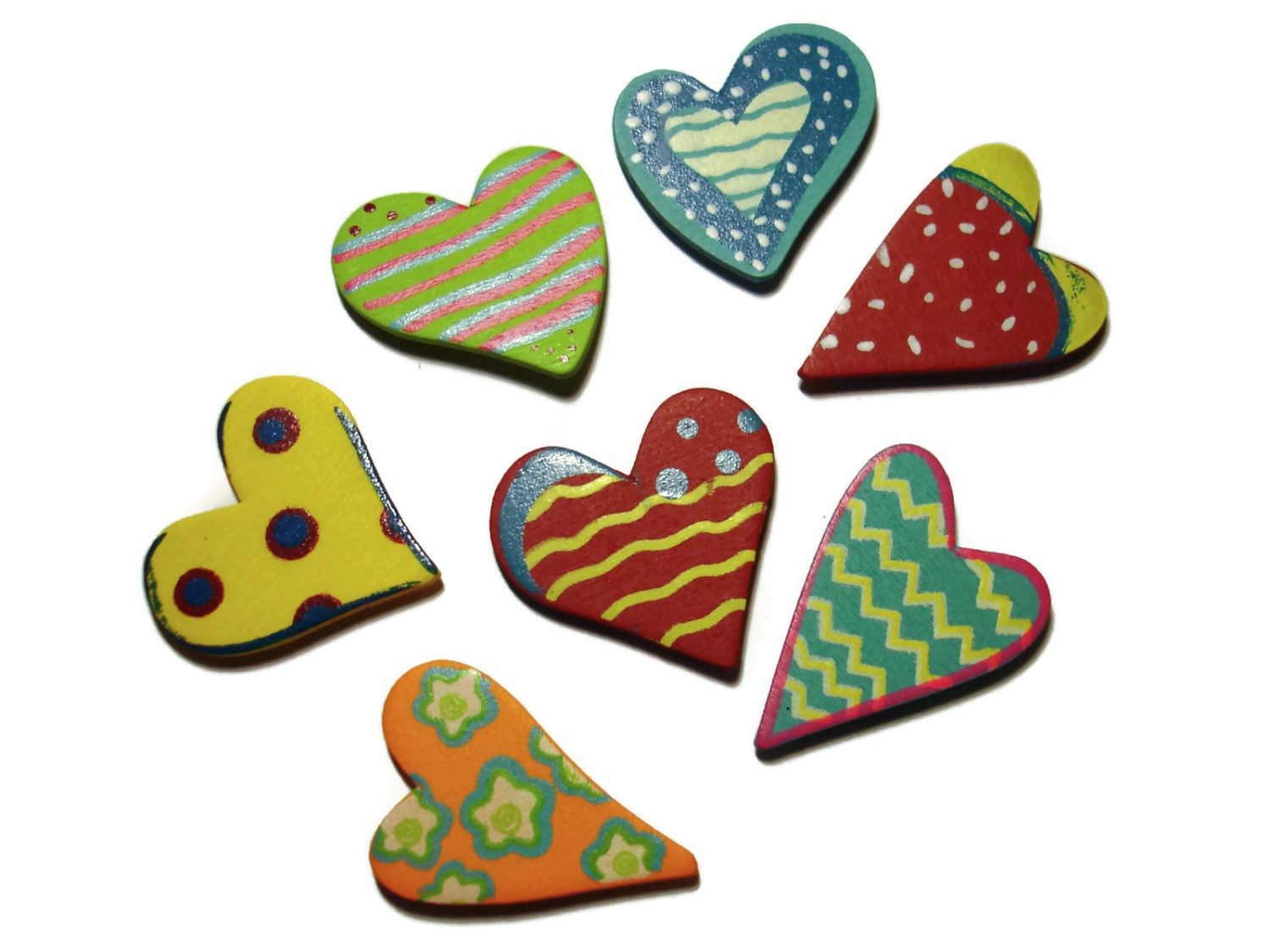 Hand painted wooden hearts colorful wood hearts craft for Wooden hearts for crafts