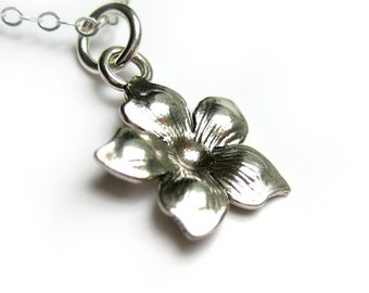 Flower Blossom Necklace, Sterling Silver