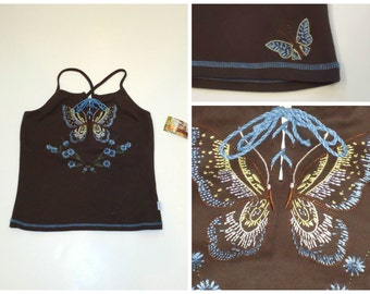 Roxy Embroidered Butterfly Top Deadstock Tie Up Tank Size Medium NWT
