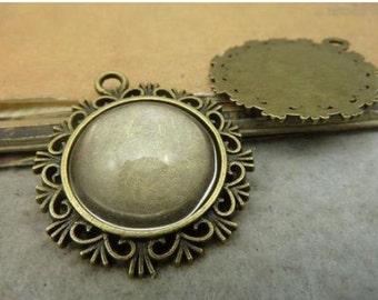 10pcs Antique Bronze Lovely Round Cameo Cabochon Base Setting pendant. d174